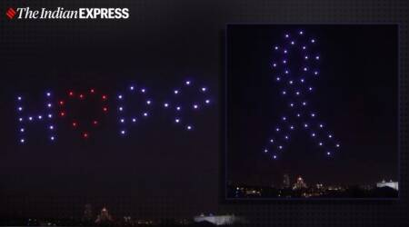 Spain, Madrid, Drone, Drone tribute, Madrid COVID-19 drone tribute, Madrid COVID-19 tribute, Trending news, Indian Express news