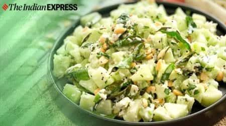 Khamang Kakdi recipe, how to make Khamang kakdi, cucumber raita, indianexpress.com, indianexpress, cucumber raita recipe, easy recipes,