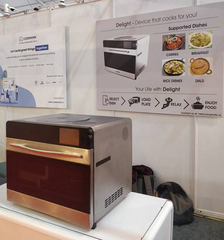 cooking robot, fully automated cooking robot, automatic food robot, food automation, robot for cooking india, nosh robot, delight, indianexpess.com, indianexpress, euphotic labs, can a robot cook food at home, covid times, how to cook food, food bots,
