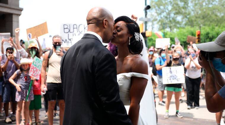 Couple Celebrates Wedding Day Alongside Thousands of Philly Protesters
