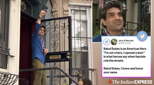 man shelters protesters at home, indian man shelters people from cops. US george floyd protest, washington man shelter protesters home, rahul dubey, viral news, indian express