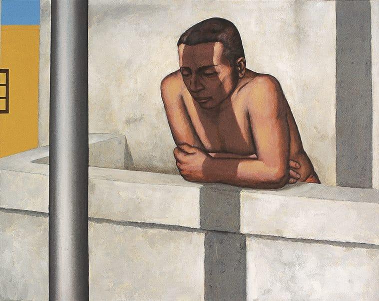 Sudhir Patwardhan Balcony, Sudhir Patwardhan artworks, indian artists, coronavirus, art in lonliness
