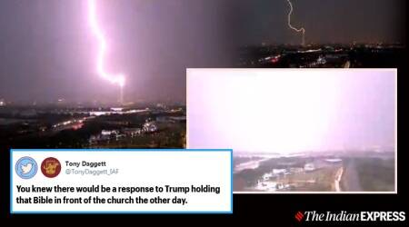 lightning videos, washington monument lightning, washington lightning video, DC weather, Washington thunderstorm warning, viral news, DC protest, indian express