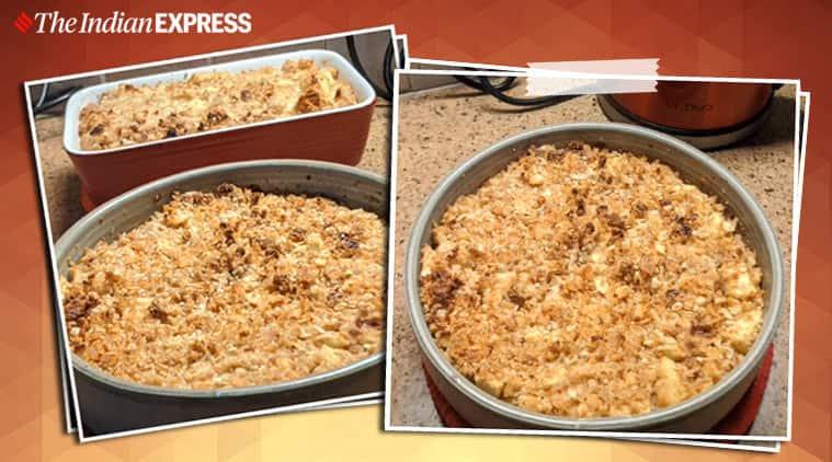 apple crumble recipe, easy recipe, anahita dhondy, indianexpress.com, dessert recipes, indianexpress, easy desserts, leftoevr bread recipes,