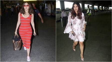 Bhumi Pednekar's airport, Bhumi airport, bollywood airport looks, Bhumi airport looks, indian express news
