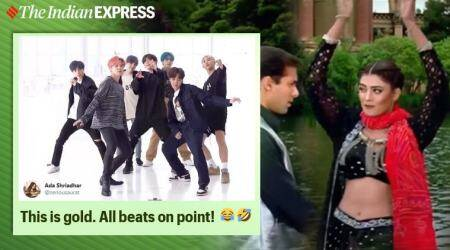 bts, bts memes, bts dance videos, bts bollywood crossover, bts chunari chunari dance video, bts spoof hindi songs, viral videos, funny news, indian express