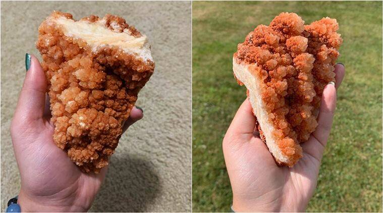 crystal fried chicken, tender fried chicken rock, kfc chicken rock, red calcite cluster, crystals looking like food, viral news, trending news, indian express