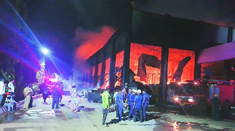 vadodara fire incident, vadodara food godown fire, vadodara two fire incidents, vadodara fire, vadodara fire causality, indian express news