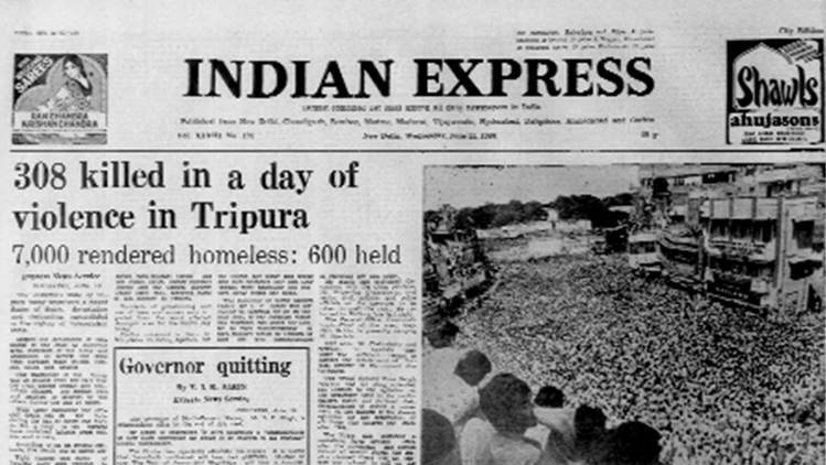 Tripura Violence, disturbed area, riots, army deployment, Forty Years Ago, Indian express news