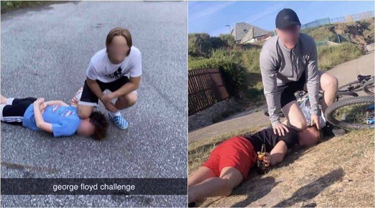 george floyd, george floyd challenge, teenagers george floyd challenge, teens mocking george floyd death, teens arrested george floyd challenge, viral news, Minneapolis protest, black lives matter protest, us anti racism protest, indian express