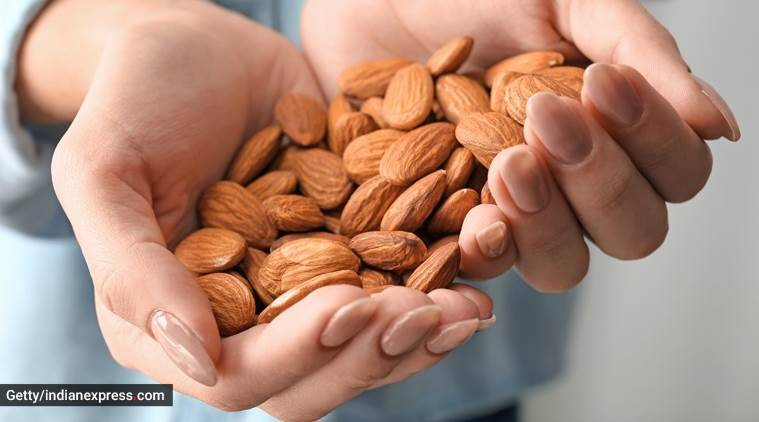 almonds for good health, eating almonds daily, snacking on almonds, healthy eating, health news, healthy study, indian express, indian express news