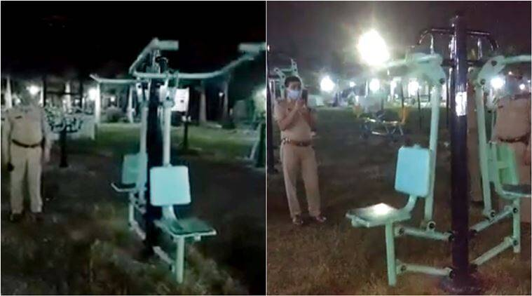jhansi police, jhansi park ghost swinging, open gym ghost swinging, japanese exercise park swing, fake ghost video, indian express