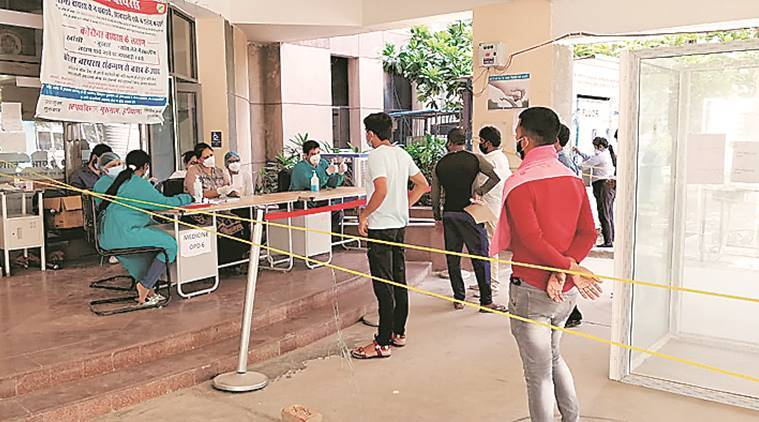 Coronavirus outbreak, social distancing, Gurgaon Civil Hospital, Gurgaon news, Indian express news