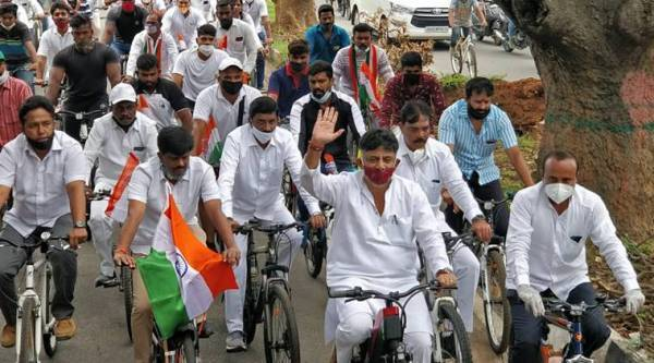 Congress protest, Congress fuel hike protest, fuel hike protest Congress, fuel hike, fuel price in India, fuel price in Delhi, India news, Indian Express