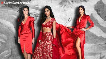 katrina kaif, katrina kaif red, katrina kaif in red, katrina kaif in red, katrina kaif red colour outfits, indian express, indian express news