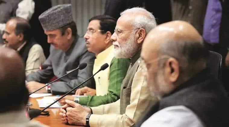 Narendra modi, amit shah, ghulam nabi azad, all party meeting, india china border