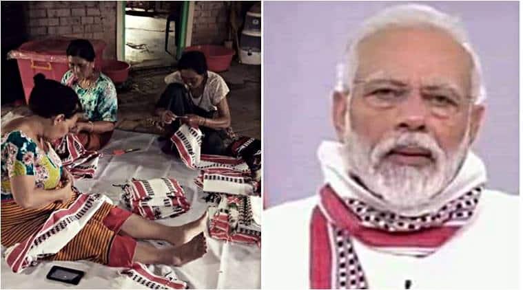 Modi gamchha mask, pm modi, Manipuri Leirum Phi, Bhupen Hazarika, Yogendra Yadav, gamosa Assamese, indian express