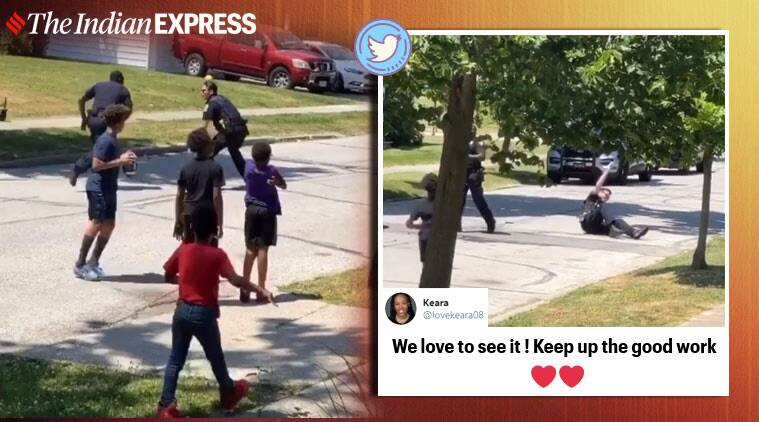 woman calls upon cops on kids playing, ohio police joins football game, cops joins children football, viral news, good news, indian express