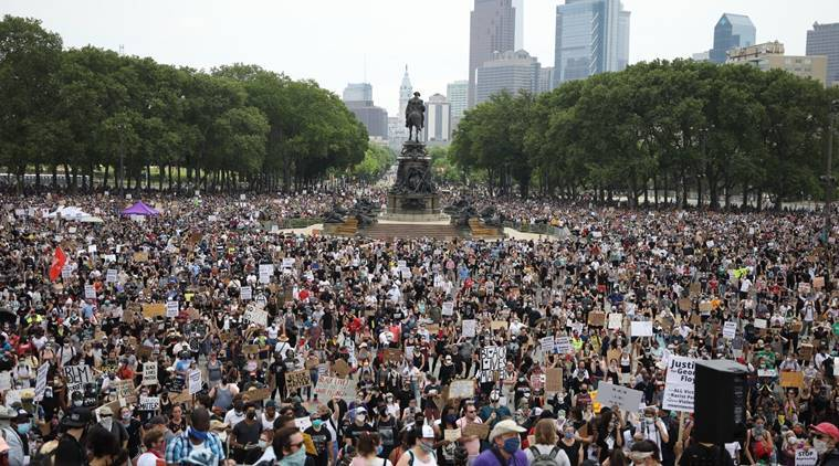 Watch: Aerial footage shows thousands gathered to protest against George Floyd's killing in Philadelphia