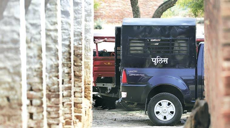 yogi adityanath, up police, up police sub inspector suspended, up sub inspector drives car over vegetables, indian express news