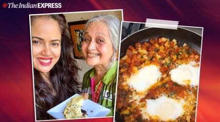 sameera reddy, manjri varde, sameera reddy news, cooking, lockdown, easy recipes, breakfast, egg recipes, parsi cuisine, egg crepe, indianexpress.com, indianexpress,