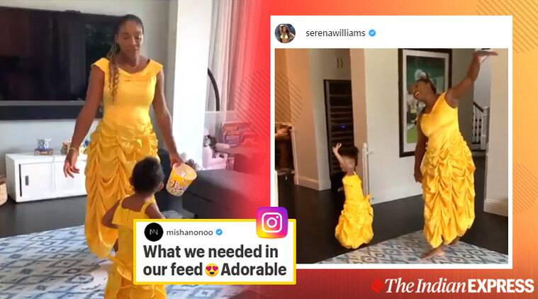Serena Williams, Serena Williams daughter dance, Serena Williams beauty and beast princess look, Serena Williams princess gown daughter, Serena Williams daughter dance videos, viral news, sports news, indian exprress