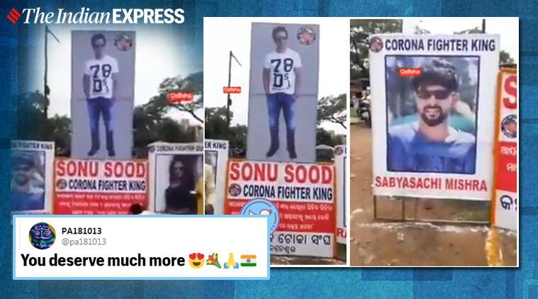 Sonu Sood, Sonu Sood worshipped, Sonu Sood poster worship, Sonu Sood 'Ghar Bhejo' project, Migrant workers, Bhubaneswar, Odisha, Trending news, Indian Express news.
