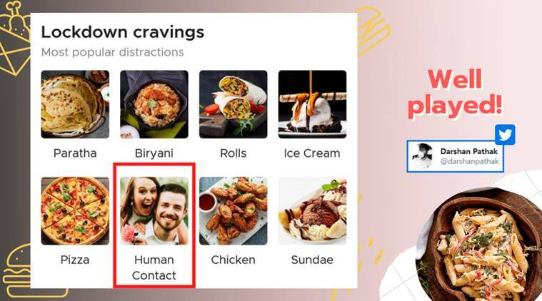 zomato, zomato human contact, zomato funny tweets, zomato no COD human contact, food delivery safety rules, lockdown craving zomato, viral news, funny news, indian express