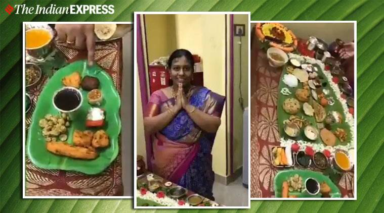 lady prepares 67-item Andhra five-course lunch son-in-law viral video, south india, five course meal viral video, food, twitter
