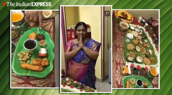 lady prepares 67-item Andhra five-course lunch son-in-law viral video, south india, five course meal viral video, food, twitter, trending, indian express, indian express news