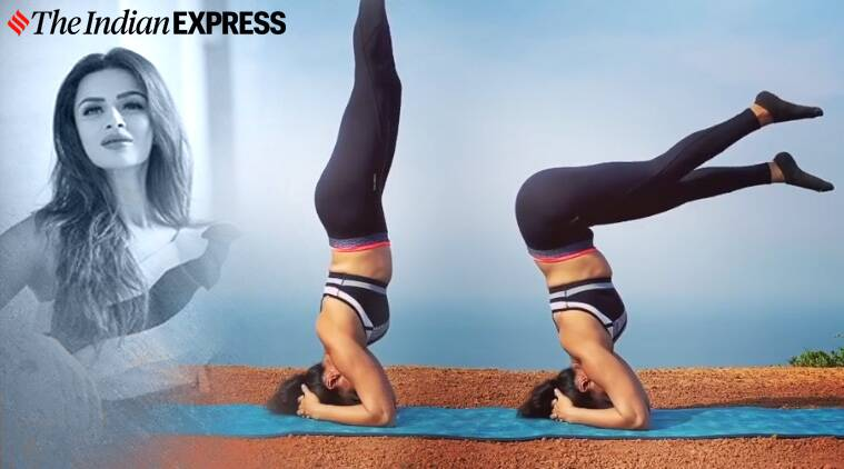 headstand variation, yoga inversions, indianexpress