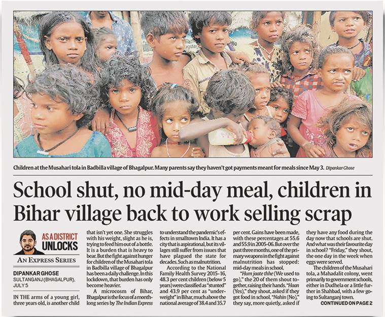Bihar mid day meal scheme, Bhagalpur unlockdown, National human rights commission, coronavirus rural areas, coronavirus Bihar, coronavirus bhagalpur, express series, indian express news