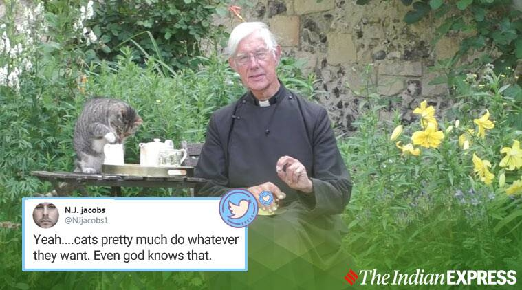 Canterbury Cathedral, cat photobomb livestreaming, cat interrupts priest sermon, cat photobomb priest sermon livestreaming, cat walks into priest cassock, funny cat videos, viral news, indian express