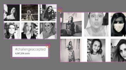 #ChallengeAccepted sees women across the globe posting black and white photos of themselves