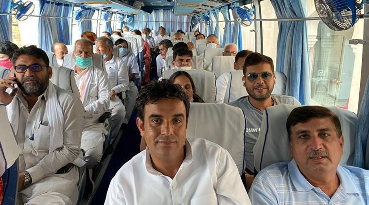 Ashok Gehlot, Congress MLAs leave for Jaisalmer, Rajasthan political crisis, Rajasthan news, Rajasthan assembly session, Sachin Pilot, India news, Indian express