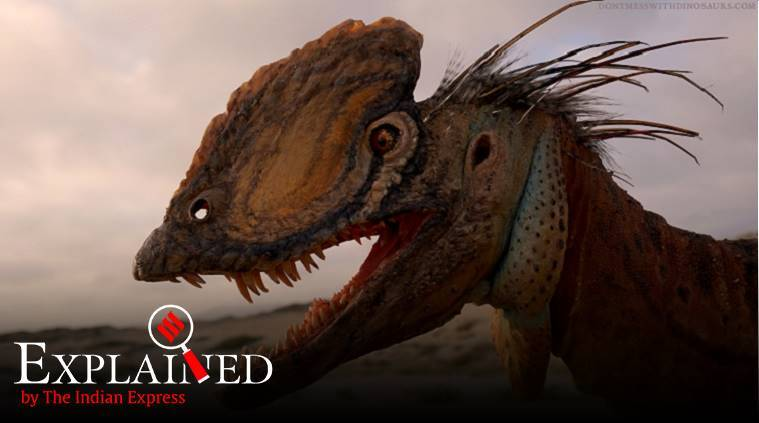 Dilophosaurus, Jurassic Park, Jurassic Park spitter, what did Dilophosaurus look like, dinosaurs, dinosaurs latest research, express explained, indian express