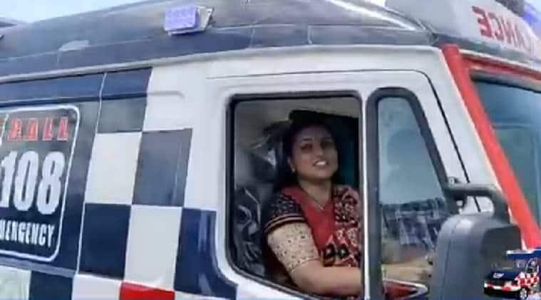 andhra ambulance, R K Roja ambulance driving, Andhra MLA RJ Roja, Nagari legislator Roja, Andhra new ambulances,