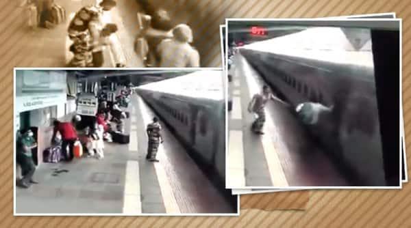 train accidents averted, rpf saves man train, man slips train tracks saved, moving train man falls saved, kalyan railway station, mumbai news, indian express
