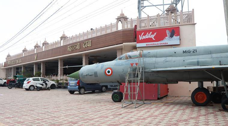 mig-21, supersonic fighter, decommissioned mig-21 in punjab, mig-21 in punjab, mig-21 on display in punjabi dhaba, indian express news