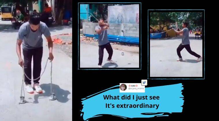 Man spins glass without spilling, Physics trick, Physics, Viral video, Trending news, Indian Express news