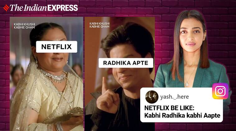 radhika apte, netflix india, radhika apte netflix spoof, Raat Akeli Hai, radhika apte Raat Akeli Hai, netflix india memes, viral news, entertainment news, indian express