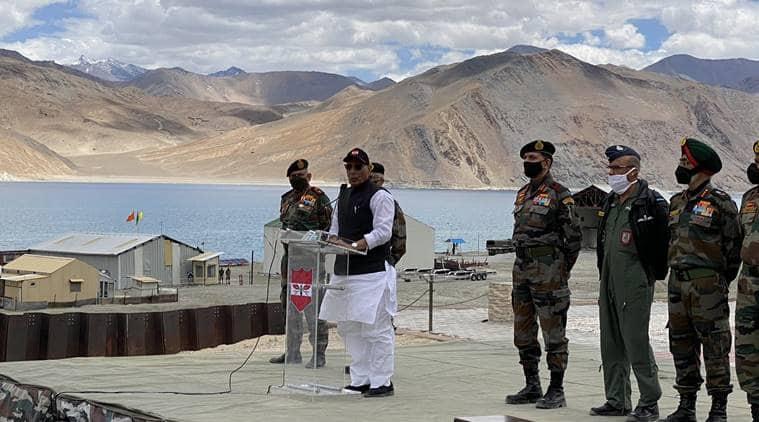 Rajnath Singh, Rajnath Singh visits Lakadh, India china border dispute, Rajnath Singh on border tensions, India news, Indian express