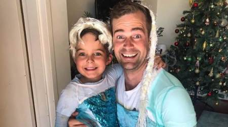 Dad and son dressed as Elsa from Frozen, gender neutral parenting, parenting, indian express, indian express news