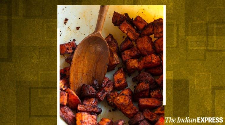 sweet potato chaat, sweet potato chaat recipe, chaat recipe, chef suvir saran, easy recipes, indian express lifestyle