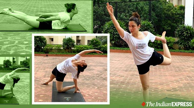 yoga, stretching, tamannaah bhatia fitness, objectifs fitness, chakra du coeur, chakra anahata, indianexpress.com, indianexpress,