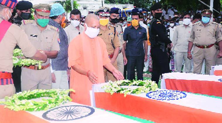 Kanpur encounter, UP CM yogi adityanath, CM give 1 crore compensation, UP news, Indian express
