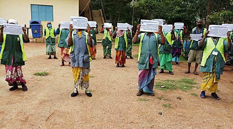 asha worker, bengaluru asha worker, asha workers protests, bbmp workers protests, bengaluru news, bangalore, indian express
