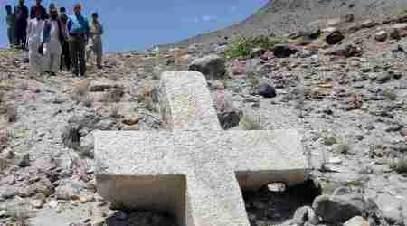 Pakistan, cross in Pakistan, christian cross found in Pakistan, christianity in Pakistan, Pakistan anicient cross, ancient cross found in Pakistan, Pakistan news, Baltistan, Indian express