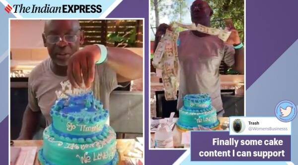 money hidden in cake, cake filled with cash, money cake surprise, wife and daughter surprise man with cash in cake, viral videos, cake videos, indian express