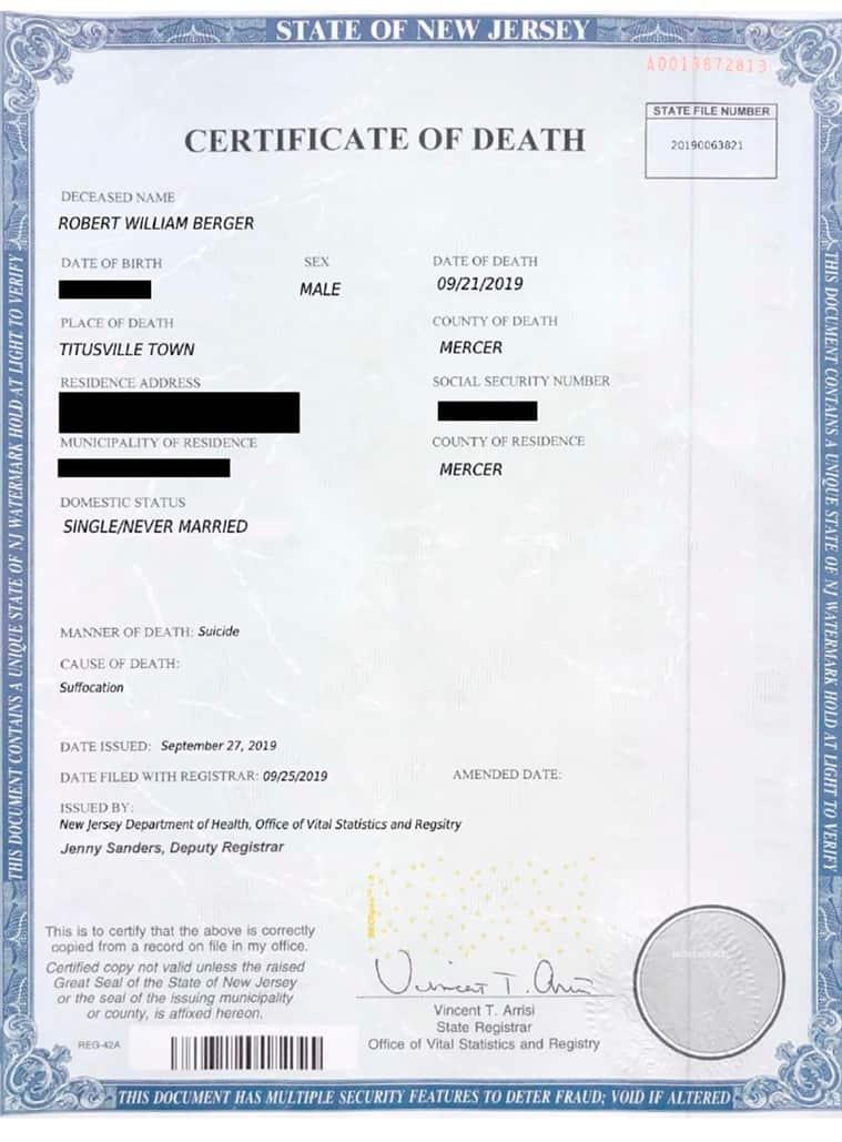 Death certificate, Fake death, Fake death certificate, Robert Berger, Phony death certificate Long Island, New York, Trending news, Indian Express news